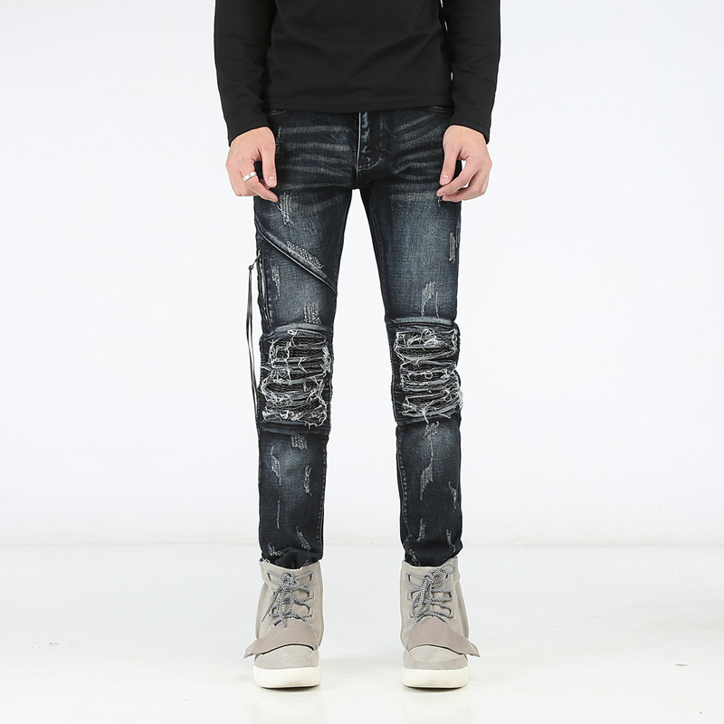 High Quality Jeans Men Distressed Slim Fit Men's Skinny Jeans Casual Biker Jeans Men Denim Pants Big Sizes 29-42 summer style men jeans blue color denim destroyed ripped jeans men high quality skinny slim fit biker jeans casual leisure pants