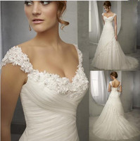 Latest Design Vintage Wedding Dress Lace Cap Sleeve Beaded A Line Bridal Dresses Wedding Gowns Women
