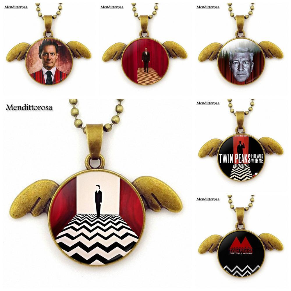 Mendittorosa Twin Peaks Bronze Angel Wings Necklace Pendant Jewelry Bronze Angel Wings Necklace Cartoon Jewelry For Women Girls
