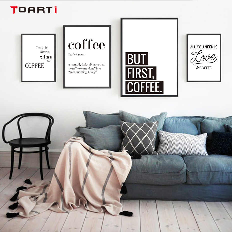 Coffee Quotes Posters Prints Modern Canvas Painting On The Wall Love Coffee Art For Kitchen Living Room Home Decor Family Gift