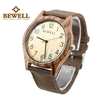BEWELL Men Fashion Top Brand Casual Natural Brown Wood Watches Life Waterproof Simple Wooden Watch For