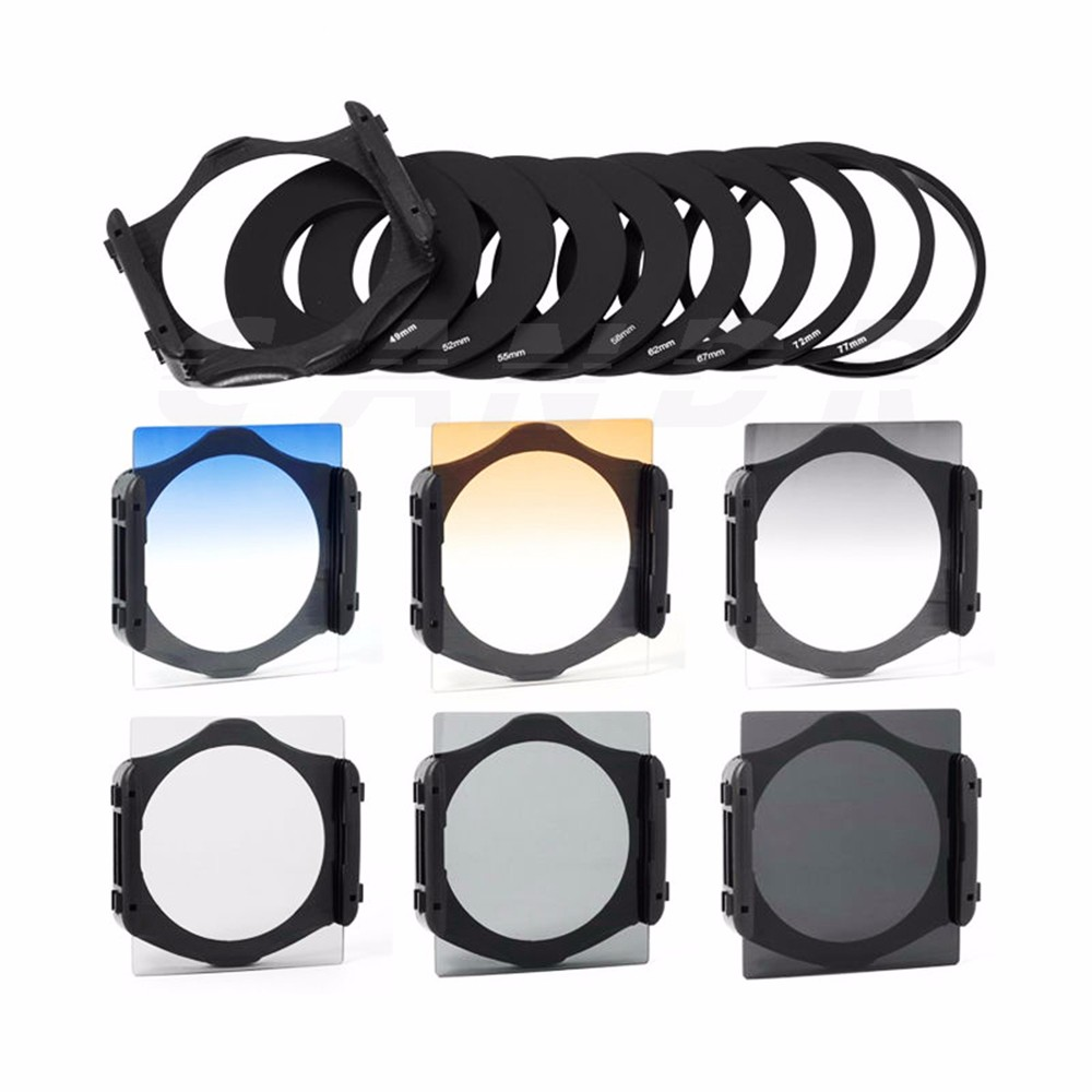 DSLR Camera Square Lens Filters Kit 10 in1 Full ND Graduated Blue Yellow Grey Orange with Holder Ring Adapter for photography 3