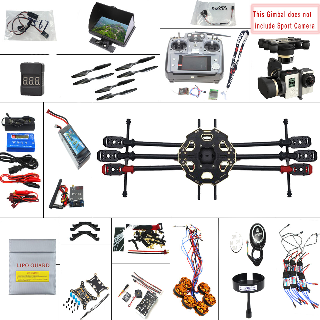 F07807-F JMT 680PRO PX4 GPS 2.4G 10CH 5.8G Video FPV RC Hexacopter Unassembled Full Kit RTF DIY RC Drone Combo MINI3D Pro Gimbal