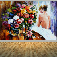 Hand Painted Abstract Woman Sexy Back Oil Paintings On Canvas Abtract Sexy Girl with Flower Wall Pictures Living Room Home Decor