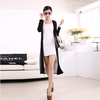 Spring Summer Blouse New Women Super Long Chiffon Cardigan Prevent Bask In Clothes Cloak Sweater 3