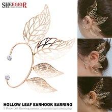 Golden Hollow Leaf Ear Cuff Big Earrings for Women Accessories Simple Lovely No EarHole Clip on Earring Fashion Jewelry Gift