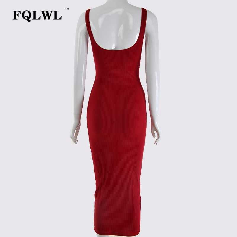 5cb62838e37f0 FQLWL Ribbed Knitted Wrap Maxi Long Dress Female Backless White Black  Bandage Sexy Bodycon Dress Women Ladies Club Party Dresses