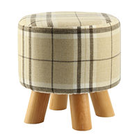 Modern Luxury Upholstered Footstool Round Pouffe Stool Wooden Leg Pattern Round Fabric Big Checkered 4 Legs
