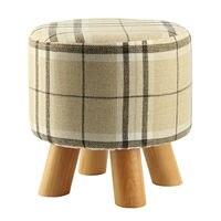 Modern Luxury Upholstered Footstool Round Pouffe Stool Wooden Leg Pattern Round Fabric Big Checkered 4 Legs