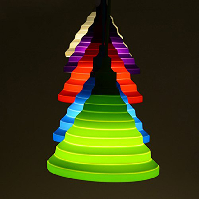christmas decorate green diy creative can be folded color silicone pendant lights clothing store childrens room - Christmas Decorating Pendant Lights
