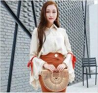 Free Shipping Woman Korean Version 2017 New Thin Shirt Sweet Temperament Long Sleeved Cardigan Chiffon Shirt