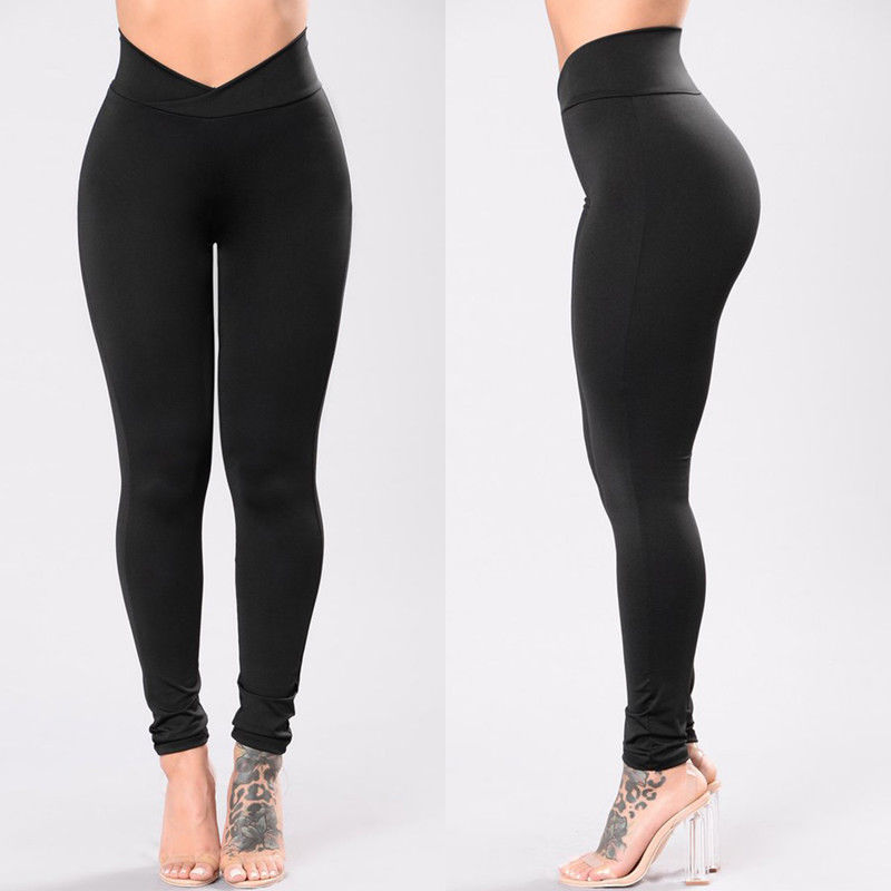 New Fashion Womens High Waist Elastic Leggings Fitness Workout Long Skinny Pants Trousers Casual Womens Long Leggings
