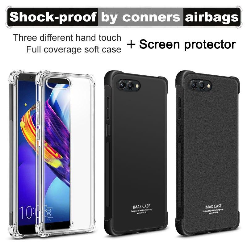 Airbag version Pour Huawei Honor V10 Cas 5.99 avec Écran Protecteur IMAK Doux TPU silicone téléphone Couverture Arrière de shell cas de téléphone