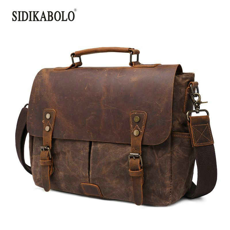 2019 Male Crazy Horse Genuine Leather  Laptop Briefcases Bags for Document Business Computer Bag Briefcases Tote