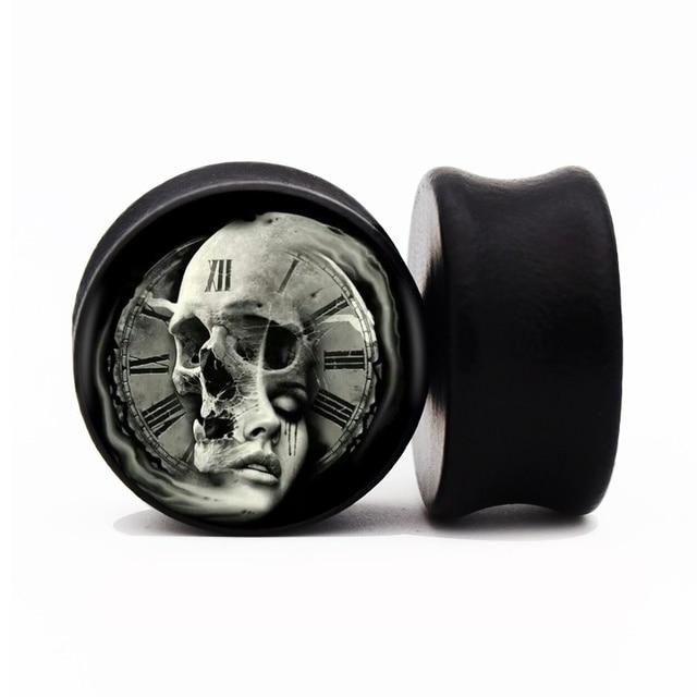 Yin Yang Skull Color Wood Ear Gauge Plugs Flesh Tunnel Stretcher Expander 8mm 25mm