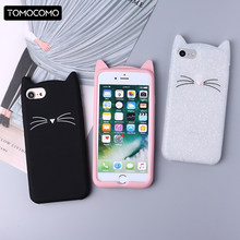 Cute 3D Silicone Cartoon Cat Pink Black Glitter Soft Phone Case Cover Coque Fundas For iPhone 7 7Plus 6 6S 6Plus 5 5S 8 8plus X(China)