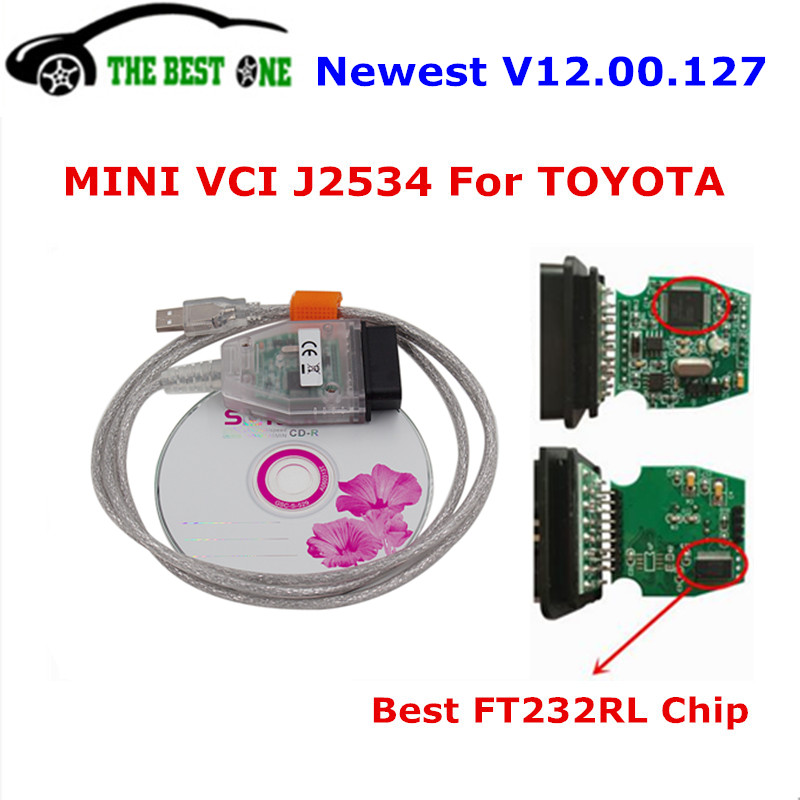 Prix pour Date V12.00.127 Mini Interface VCI Pour Toyota TIS Techstream J2534 22 Broches OBDII Diagnostic Scanner MINI-VCI Outil De Diagnostic