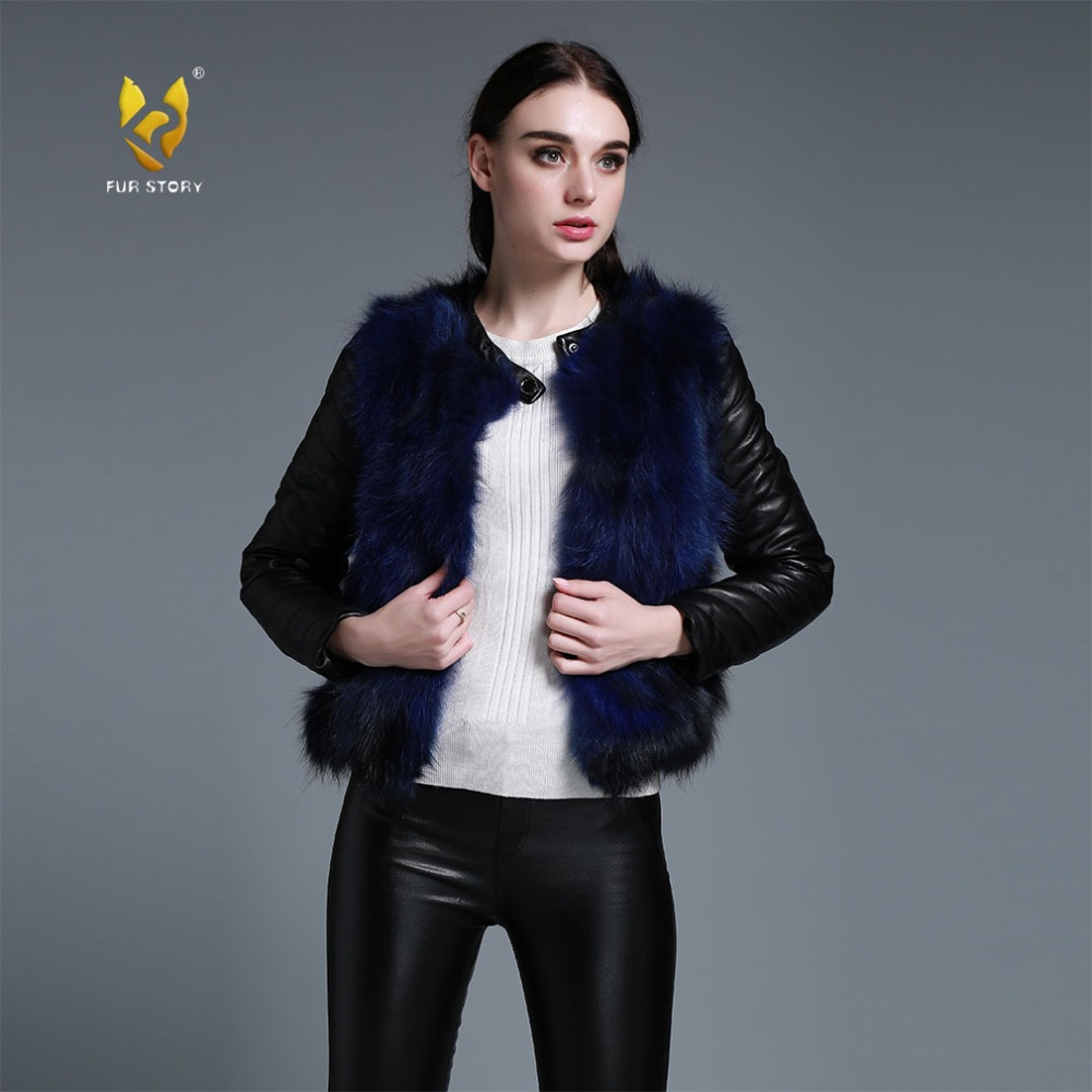 Fur Story 151220 Winter Women s Raccoon fur Jacket with Genuine Sheep leather Sleeve Fashion Natural