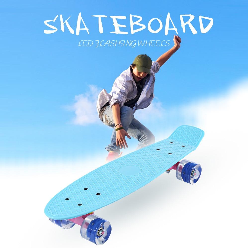Have An Inquiring Mind 22 Inch Fish Skate Board Pastel Color Banana Board Mini Cruiser Long Skateboard Four-wheel Street Longboard Led Flashing Wheels