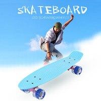 22 Inch Fish Skate Board Pastel Color Banana Board Mini Cruiser Long Skateboard Four wheel Street Longboard LED Flashing Wheels