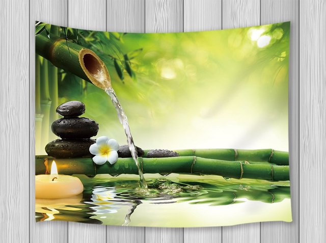 Asian Decor Tapestry Black Stones Bamboo Waters Zen Gardens Japanese ...