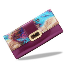Blumenmuster frauen brieftasche aus echtem leder geldbörse luxus marke lange frauen brieftaschen aus echtem leder geldbörsen