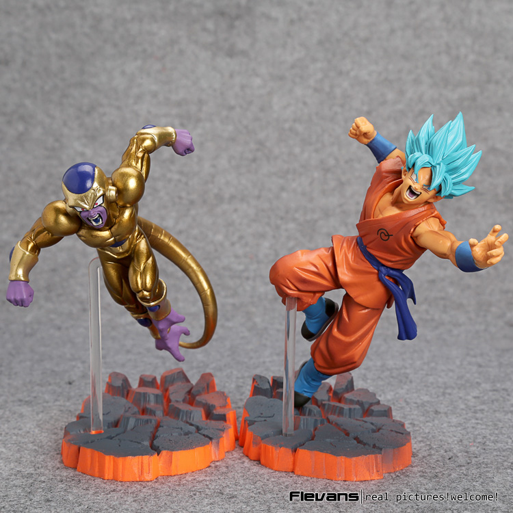 Dragon Ball Z Super Saiyan Son Goku Freeza Fighting PVC Action Figures Collectible Model Toys 15cm dragon ball z son goku vs broly super saiyan pvc action figures dragon ball z anime collectible model toy set dbz