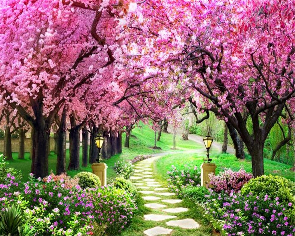 Beibehang 3d Wallpaper Sakura Grove Wooden Garden Path Landscape