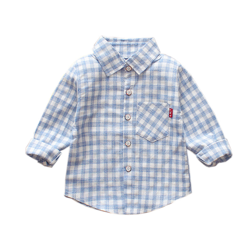 Free shipping  Spring  Autumn 2018  Children's baby Boys Cotton Square Long-sleeved shirt
