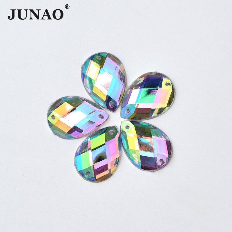 JUNAO 8 * 13mm Sying Crystal AB Drop Rhinestone Applique Sy på Flatback Kristaller Stenar Akryl Strass för DIY Kläder Hantverk