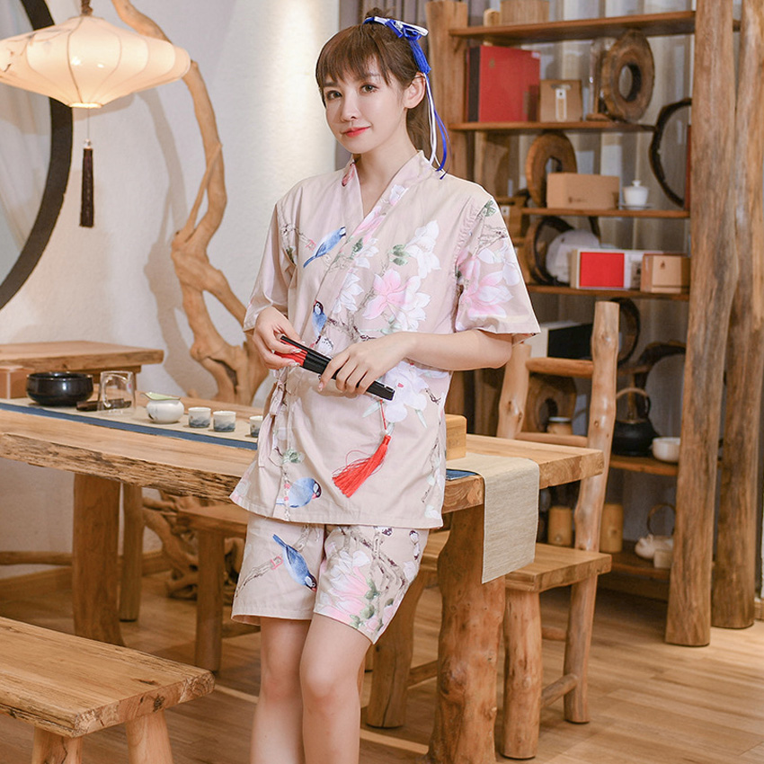 Woman Japanese Style Yukata Pajamas Set Spa Sauna Female Cotton V-neck Tops+shorts Sleepwear Loose Smooth Kimono Flower Print