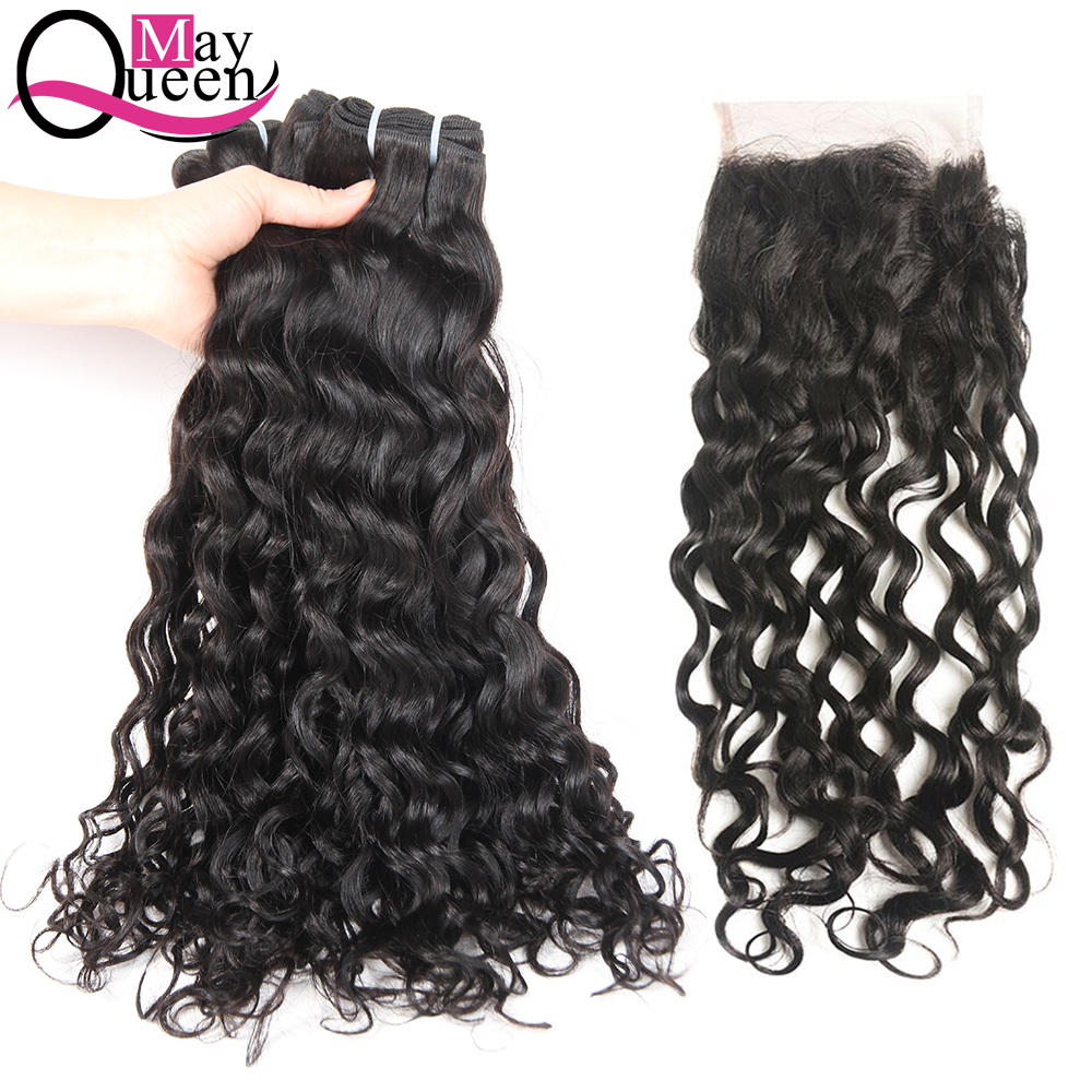 May Queen Brazilian Hair Weave Bundles Water Wave With Lace Closure 4*4 100% Human Hair Non Remy Natural Color Shipping Free