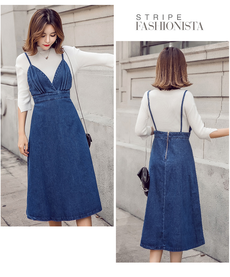 HTB1U6MhfnnI8KJjy0Ffq6AdoVXa6 - HziriP 2018 New Arrival Women Denim Dress Fashion Casual Ankle-Length desses for Ladies Spaghetti Strap Bodycon Vestido Female