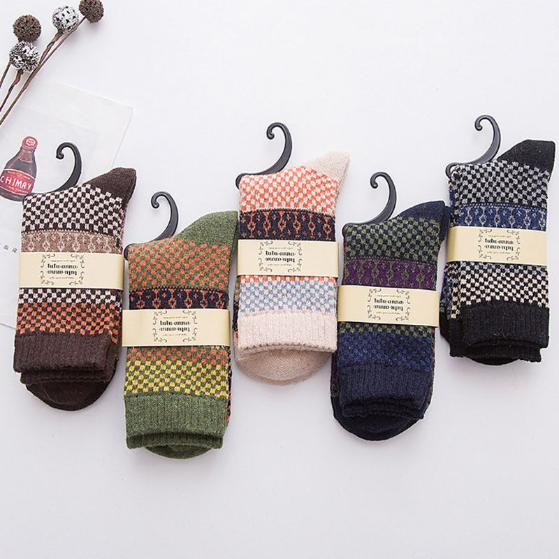 5 Pair  Mens Vintage Ethnic Woolen Warm Long Socks Checked Striped Geometric Ribbed Knit