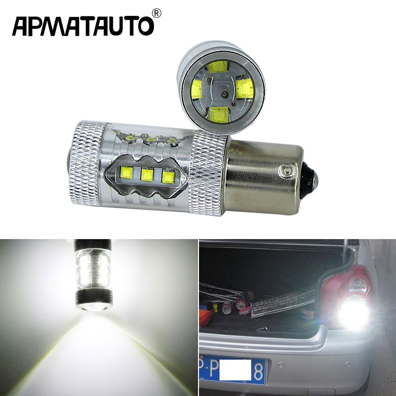 Apmatauto 2x 1156 P21W BA15S with CREE Chips 80w Car <font><b>LED</b></font> Reverse Bulb Rear Light For Citroen <font><b>C2</b></font> C3 C4 C8 Elysee Picasso ZX,white