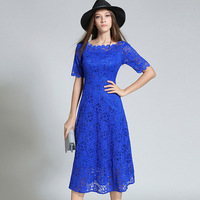 Europe Style Blue Lace Dresses Early Autumn New Ladies Lace Dress Short Sleeve Long Slim Sequined