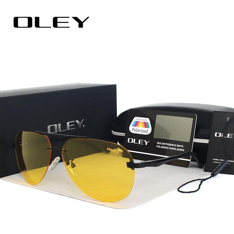 OLEY Jaune lunettes de Soleil Polarisées Hommes nuit vision lunettes Marque Designer femmes lunettes de voiture pilotes Aviation lunettes pour homme