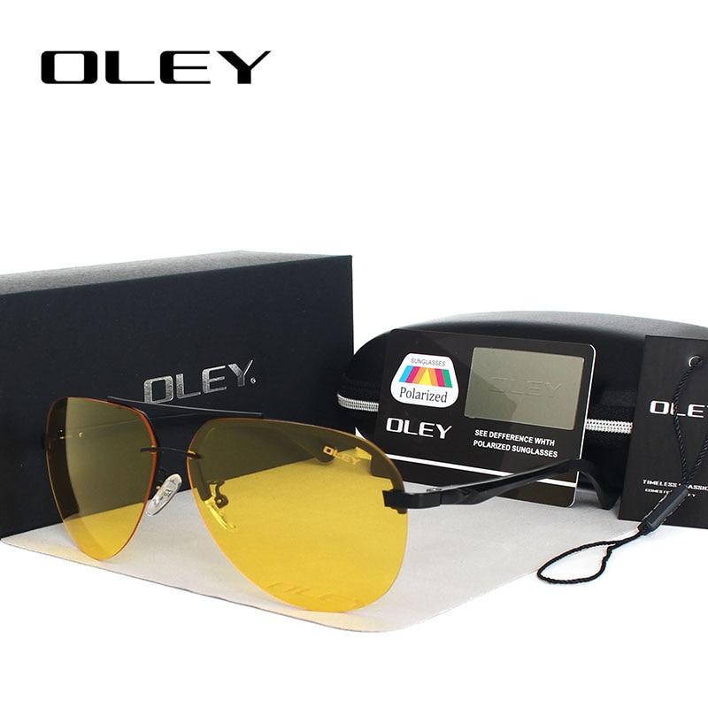 OLEY ყვითელი პოლარიზებული სათვალე მამაკაცის ღამის სათვალეები ბრენდის დიზაინერი ქალები სპექტაკლები მანქანის მძღოლები საავიაციო სათვალეები კაცისთვის
