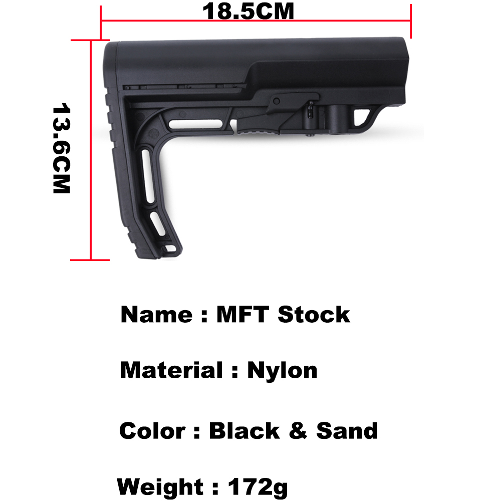 Airsoft Nylon Stock For MFT For Airsoft Air Guns Accessories Paintball AEG Gel Blaster JM9 Gearbox CS Sport Tactical
