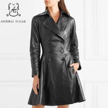 Winter Autumn women sheepskin genuine leather jacket black sexy Double Breasted jaqueta couro feminina long Skirt windbreak coat