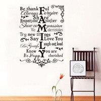Dctop زهرة نمط ملصقات الحائط الأسرة أقول أحبك التصميم الإبداعي diy غرفة المعيشة ديكور الفينيل جدار الشارات