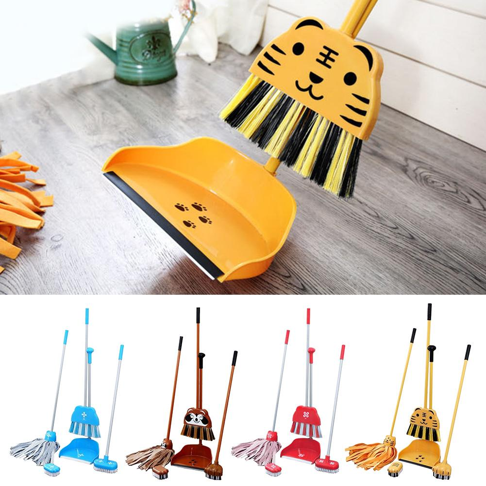 Children's Cartoon Cleaning Kit Set Print Mini Fashionable Cute Small Broom Mop Brush Dustpan Cleaning Tool Set Pretend Toy image