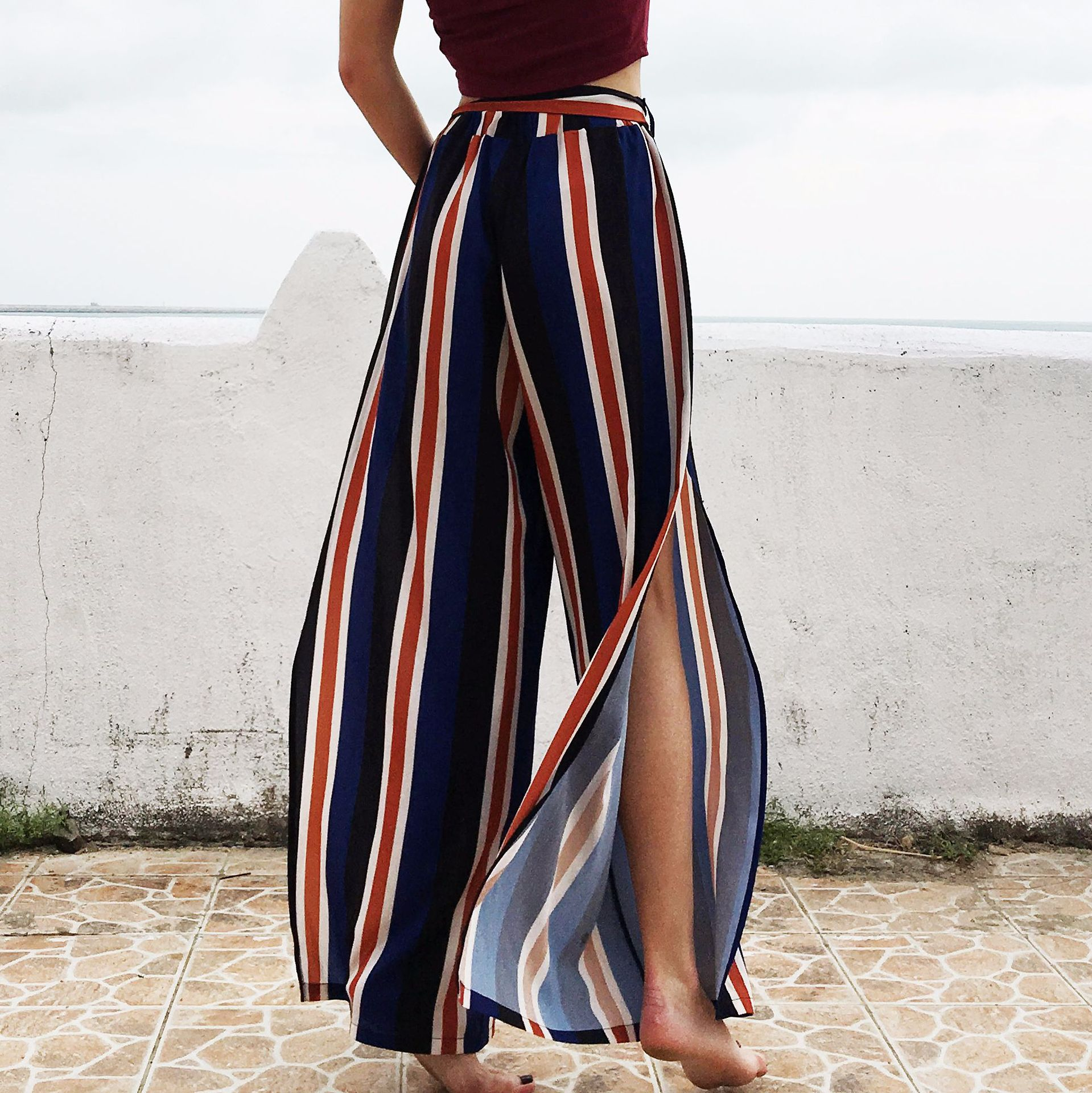 High Street Loose Striped   Wide     Leg     Pants   Holiday Full Length High Slit Chiffon Palazzo   Pants   Women