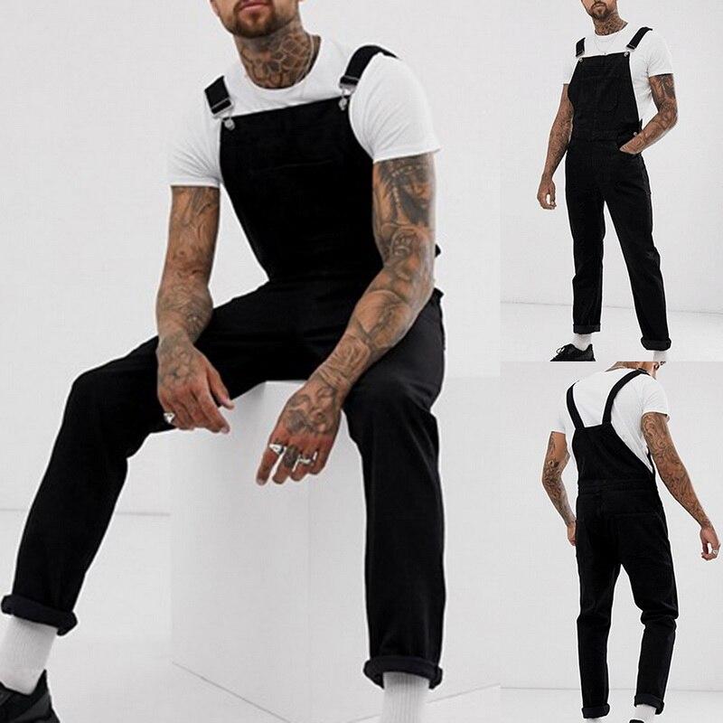 VERTVIE 2019 Men's Ripped Denim Jeans Jumpsuit Black Denim Long Overalls Casual Men Hip Hop Streetwear Jeans Suspender Pants(China)