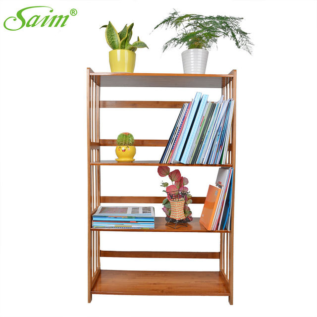 4 Tiers Bookcase Shelving Unit Bookshelf Stand Free Display Shelf Bamboo Storage Home Book Rack