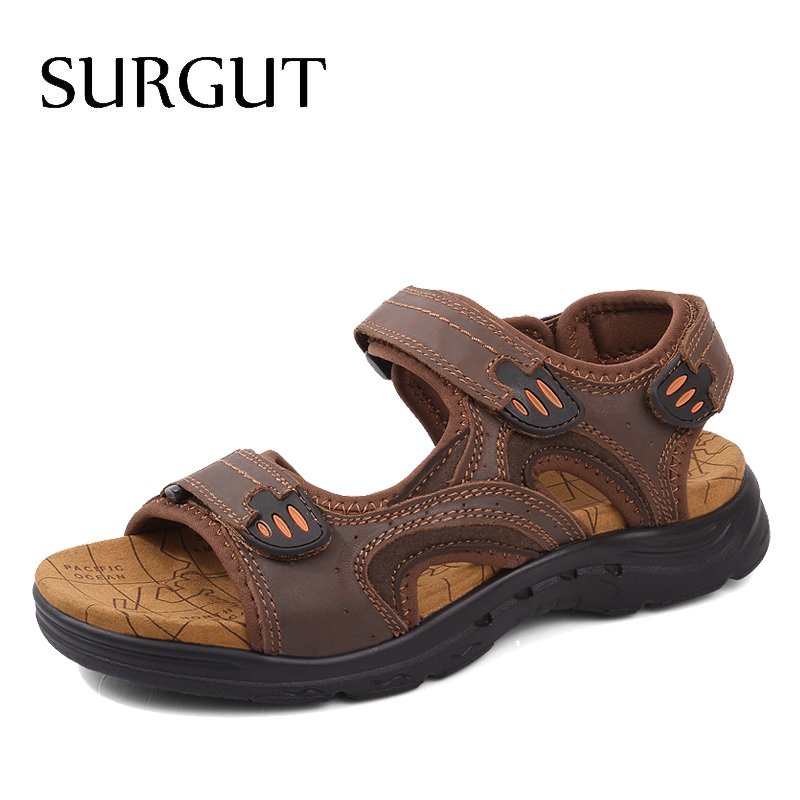SURGUT Brand Men Sandals Genuine Leather Summer Slippers Breathable Comfortable Hook-Loop Beach Men Casual Shoes Plus Size 38-47