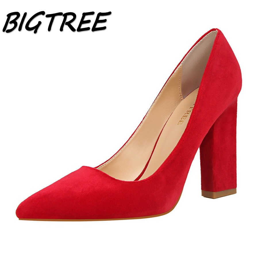 BIGTREE summer women Pointed Toe High heels shoes woman shallow pumps ladies Sexy Party Wedding flock Square heel Single shoe wholesale lttl new spring summer high heels shoes stiletto heel flock pointed toe sandals fashion ankle straps women party shoes