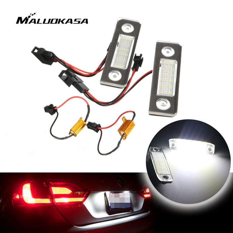 MALUOKASA 2X White Canbus Error Free LED License Plate Light Car Tail Lamp Signal Lights for Skoda Octavia Roomster 5J Auto Part 4pcs super bright t10 w5w 194 168 2825 6 smd 3030 white led canbus error free bulbs for car license plate lights white 12v