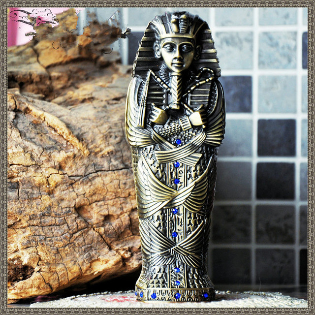 2016 New Metal Pen Boxes Egyptian Pharaoh Figurine Gift  Storage Container Home and Office Artwork Decoration