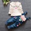 2016 весной новорожденный новорожденных девочек одежда + джинсовые комбинезоны костюм для девочки мода бренд одежды хлопка